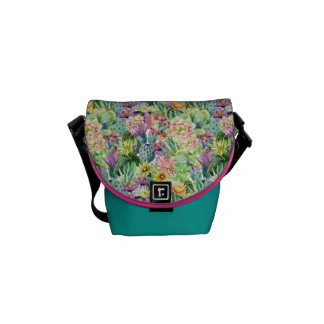 Exotic Blooming Watercolor Cacti Pattern Messenger Bag