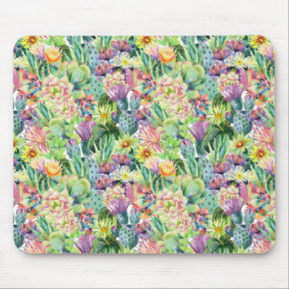 Exotic Blooming Watercolor Cacti Pattern Mouse Pad