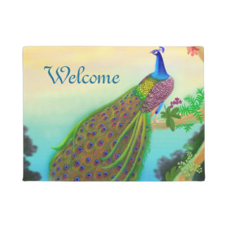 Exotic Blue Indian Peacock Doormat