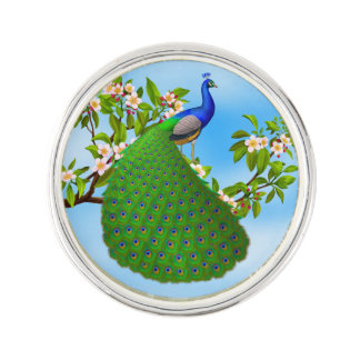 Exotic Blue Indian Peacock Lapel Pin