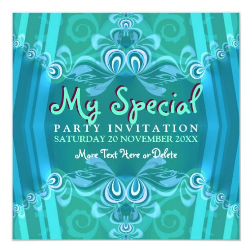 Exotic Blue Mint Girls Boudoir Party  Invitations