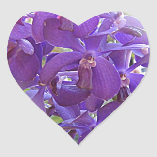 EXOTIC BLUE ORCHIDS HEART STICKER