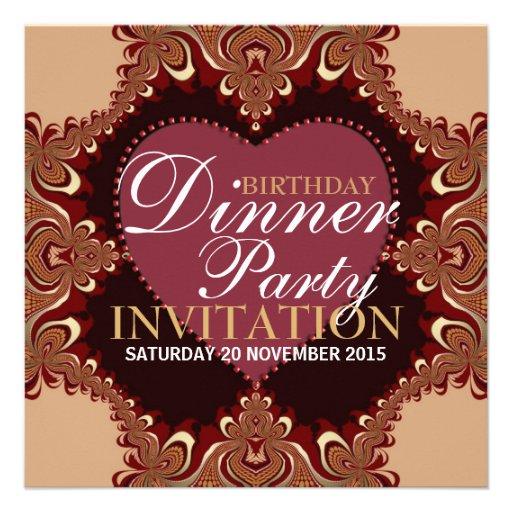 Exotic Bohemian Birthday Dinner Party Invitations 5.25