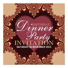 Exotic Bohemian Birthday Dinner Party Invitations