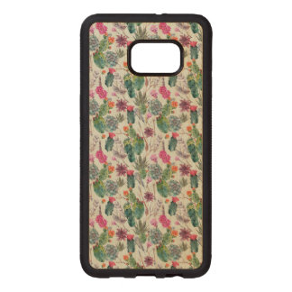 Exotic Boho Watercolor Cactus & Succulent Pattern Carved Wood Samsung Galaxy S6 Edge Plus Case