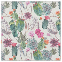 Exotic Boho Watercolor Cactus & Succulent Pattern Fabric
