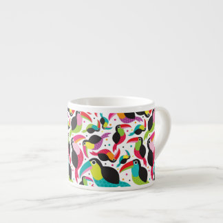 exotic brazil toucan bird background espresso cup