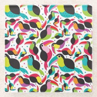exotic brazil toucan bird background glass coaster