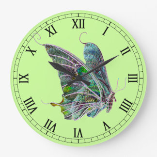 Exotic Butterfly Round Roman Numerals Clock