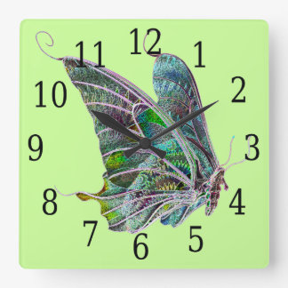 Exotic Butterfly Square Clock