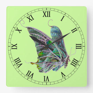 Exotic Butterfly Square Roman Numerals Clock