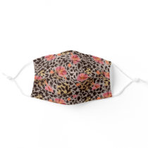 Exotic Cheetah Print With Hibiscus Floral Pattern Adult Cloth Face Mask