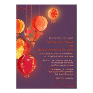 Exotic Chinese Paper Lanterns Swirls Fall Wedding Personalized Invitation