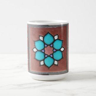 Exotic Copper and Aqua Flower Pattern Coffee Mug