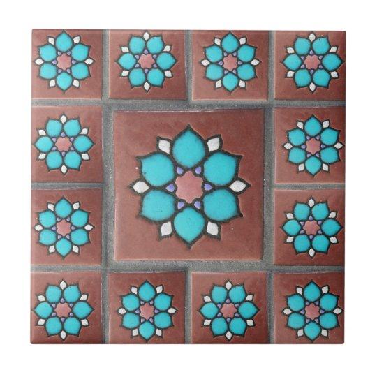 Exotic Copper & Aqua Flower Design Ceramic Tile