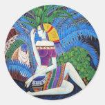 exotic decorative girl portrait abstract art round sticker