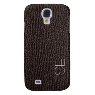 Exotic Deep Brown Leather Art Deco Monogram Samsung Galaxy S4 Case