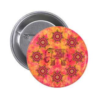 Exotic Eastern Elephant Tangle Doodle Pattern 2 Inch Round Button