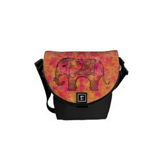 Exotic Eastern Elephant Tangle Doodle Pattern Courier Bag