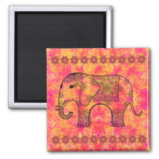 Exotic Eastern Elephant Tangle Doodle Pattern 2 Inch Square Magnet