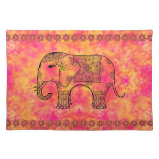 Exotic Eastern Elephant Tangle Doodle Pattern Cloth Placemat