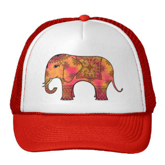 Exotic Eastern Indian Elephant Tangle Doodle Trucker Hat