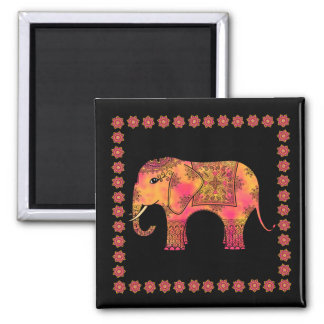 Exotic Eastern Indian Elephant Tangle Doodle 2 Inch Square Magnet
