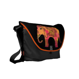 Exotic Eastern Indian Elephant Tangle Doodle Messenger Bags