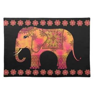 Exotic Eastern Indian Elephant Tangle Doodle Cloth Placemat