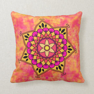Exotic Eastern Influenced Mandala Flower Graphic Pillow