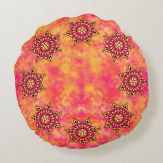 Exotic Eastern Influenced Mandala Flower Graphic Round Pillow