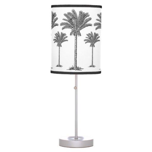 Exotic Elegant Black White Tropical Palm Trees Lamp Zazzle
