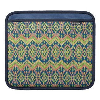 Exotic Ethnic Ikat Pattern on Blue Sleeve For iPads