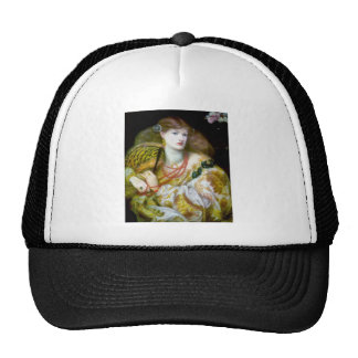 Exotic extravagant woman painting trucker hat