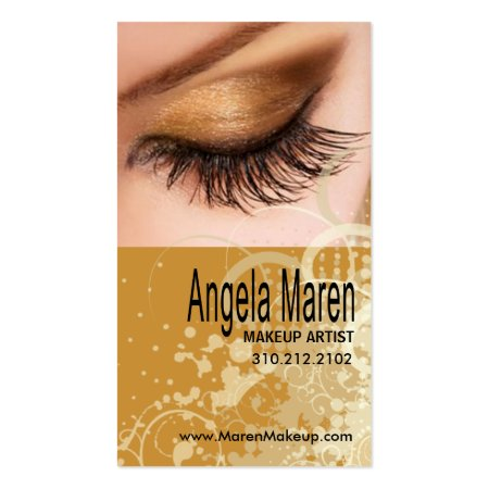 Exotic Gold Eye Makeup and Long Lashes Makeup Artist Visiting Cards