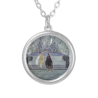 Exotic Fairy Tale Prince and Princess Illustration Silver Plated Necklace