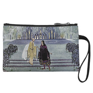 Exotic Fairy Tale Prince and Princess Illustration Wristlet Wallet