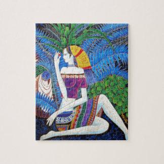 exotic farm girl portrait decorative abstract art puzzle
