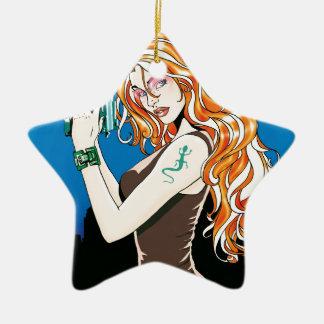 Exotic Female Model With Orange Hair Holding a Gun Ceramic Ornament