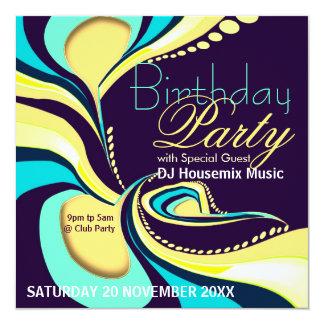 Exotic Flamboyant Abstract Art Party Invitation