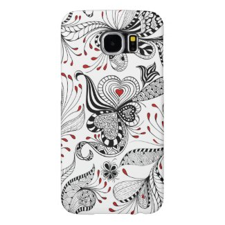 Exotic Floral Swirls And Hearts Pattern Samsung Galaxy S6 Cases