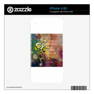 Exotic flower with message. decals for iPhone 4S