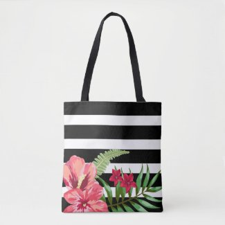 Exotic Flowers And Black White Stripes