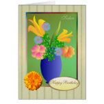 Exotic flowers in a vase - Sister Birthday Card