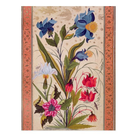 Exotic flowers with insects postcard