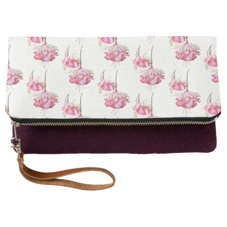 Exotic Fuchsias on a Fold-Over Clutch