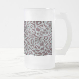 Exotic Furry Leopard Spots Dusty Blue Aubergine Frosted Glass Beer Mug