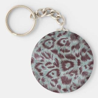 Exotic Furry Leopard Spots Dusty Blue Aubergine Keychain