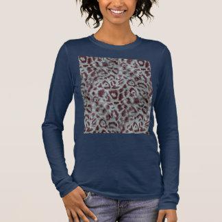 Exotic Furry Leopard Spots Dusty Blue Aubergine Long Sleeve T-Shirt