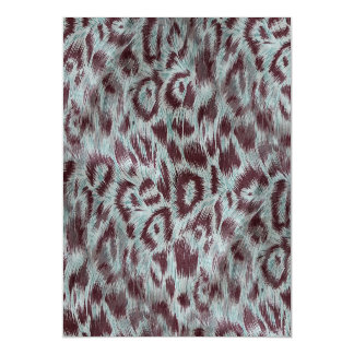 Exotic Furry Leopard Spots Dusty Blue Aubergine Magnetic Card